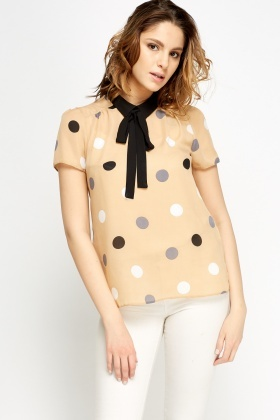 Tie Up Neck Polka Dot Sheer Top