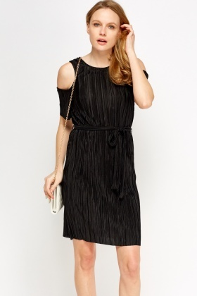 Pleated Cold Shoulder Tie Up Dress