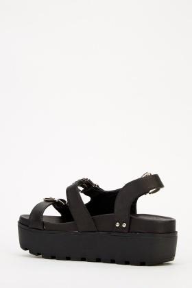 Black Platform Buckle Sandals - Just $6