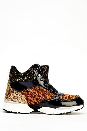 Multi Contrast High Top Trainers