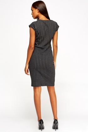 Houndstooth Peplum Midi Dress