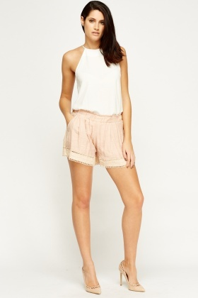 Crochet Trim Elasticated Shorts
