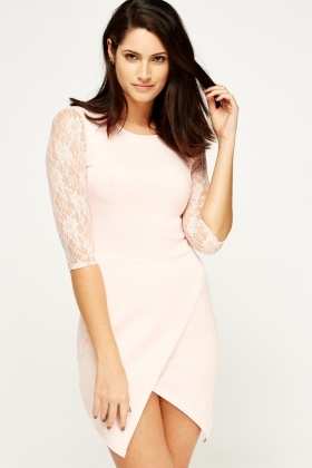 Lace Sleeve Wrap Hem Dress