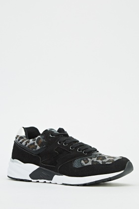 Contrast Printed Low Top Trainers