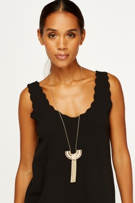 Embellished Chained Long Necklace