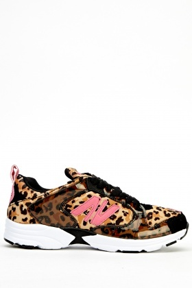 Mixed Print Low Top Trainers