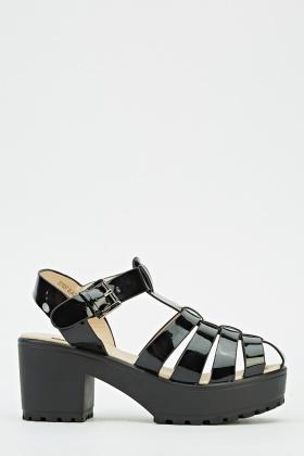 62c3ce90daa PVC Block Heel Platform Sandals - Just £5