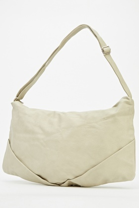 Spacious Faux Leather Shoulder Bag