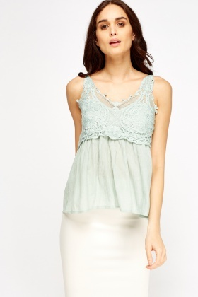Green Crochet Contrast Top