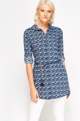 Mix Print Tie Up Longline Shirt