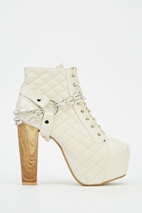 Chained Embellished Heeled Ankle Boots