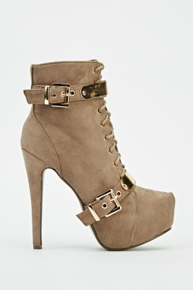 Detailed Suedette Platformed Heeled Boots
