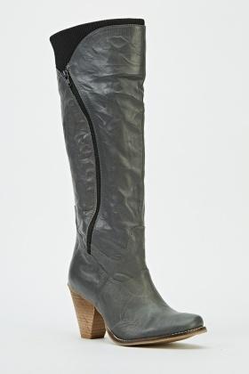 f47e4e414dd Grey Knee High Block Heel Boots