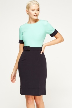 Colour Block Belted Dress