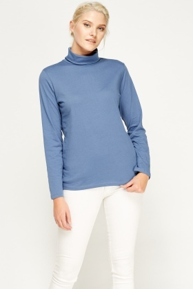 Middle Blue Roll Neck Top