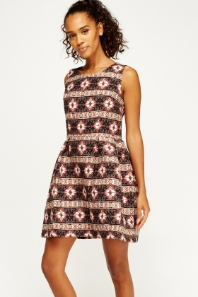 326d08f579 Embroidered Printed Skater Dress