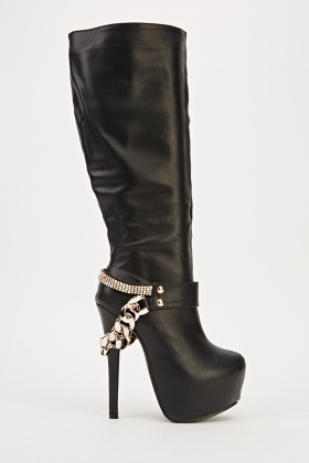Embellished Heeled Black Knee High Boots