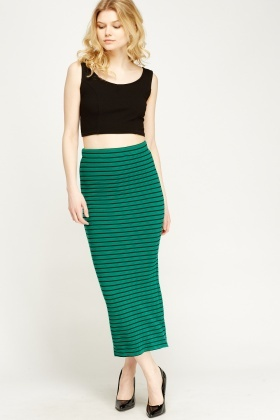 Green Ribbed Pencil Skirt