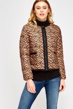 e22223874a0e Leopard Print Contrasted Puffa Jacket - Just £5