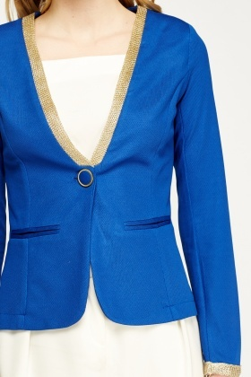 Metallic Trim Cropped Blazer