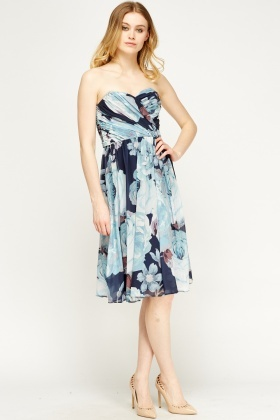 Sky Blue Floral Print Bandeau Dress