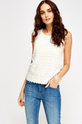 Crochet Contrast Cream Top