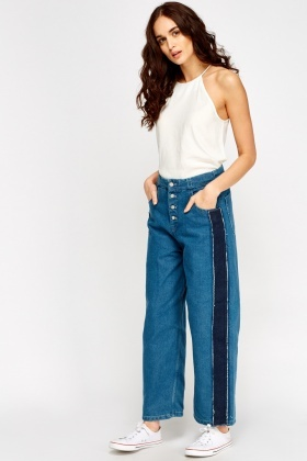 Denim Contrast Wide Leg Jeans