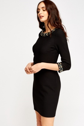 Textured Embellished Shift Dress