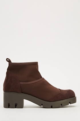 Contrast Insert Ankle Boots