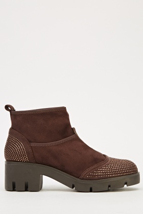 Encrusted Suedette Low Heel Boots