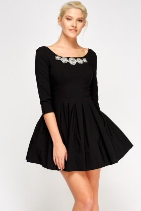 Jewelled Neck Mini Skater Dress