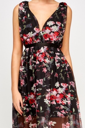 Mesh Overlay Floral Maxi Dress