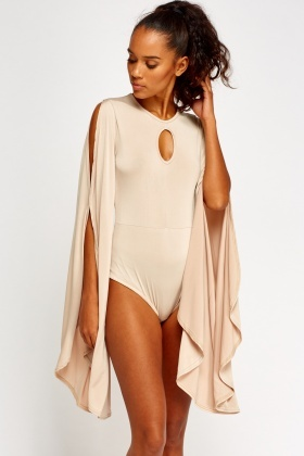 Slit Wide Sleeve Bodysuit