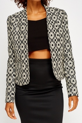 Textured Printed Blazer