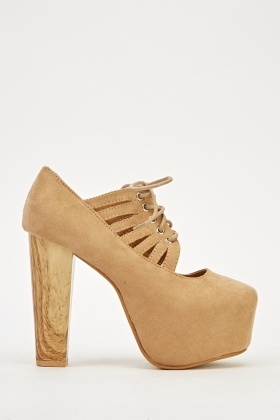Wooden Heel Cut Out Laced Up Heels