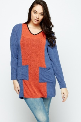 Colour Block Twin Pocket Tunic Top