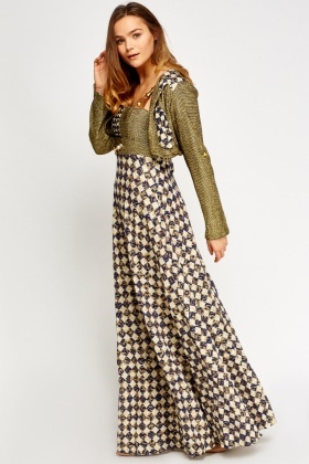 Metallic Contrast Printed Bolero Maxi Dress