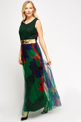 Belted Contrast Maxi Dress