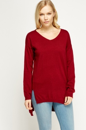Dip Hem Knitted Sweater