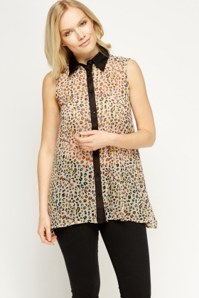 Sheer Animal Print Asymmetric Top