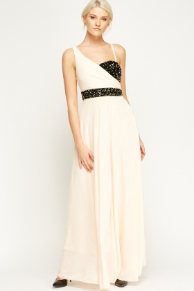 Embellished Contrast Maxi Dress