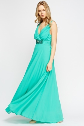 Beaded Ruched Lined Maxi Dress