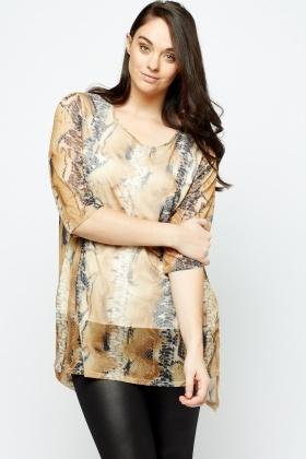 Beige Printed Long Tunic Top