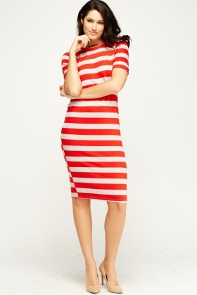 Knitted Striped Bodycon Midi Dress