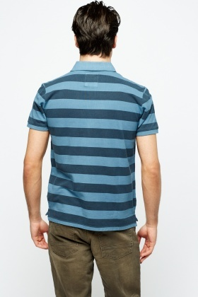 Striped Button Polo Top