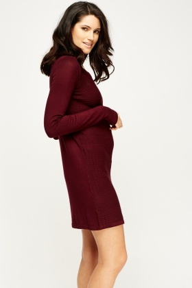 Wine Thin Knit Jumper Dress