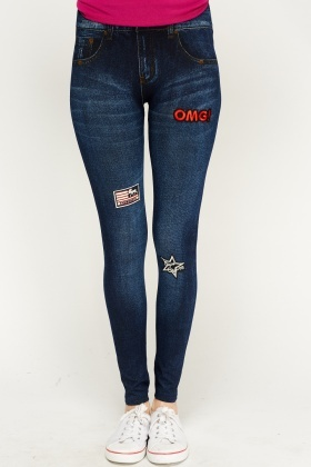 Badged Denim Style Jeggings