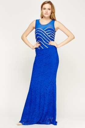 Beaded Mesh Contrast Maxi Dress