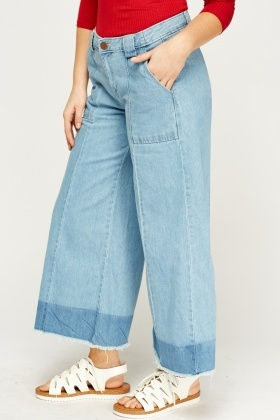 Denim Frayed Hem Wide Leg Culotte Jeans