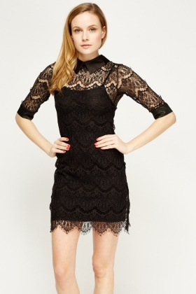 bc461d2bb6b4 Lace Overlay Black Dress - Just £5